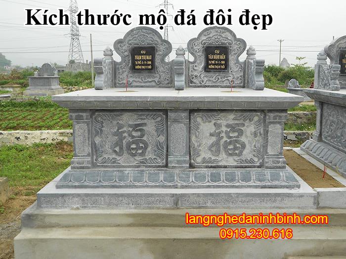 Kích thước mộ đá đôi đẹp