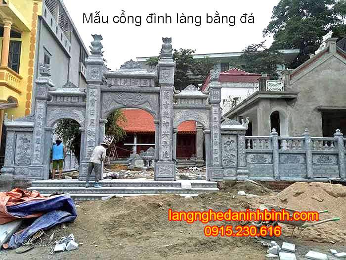 Mẫu cổng đình làng bằng đá