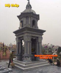 Mẫu mộ tháp phong thủy PL-16, Mẫu mộ tháp đá ở chùa; Mẫu mộ tháp đá đẹp để tro cốt; Mộ tháp bằng đá giá rẻ; Mộ tháp đá xanh tự nhiên; tháp mộ;