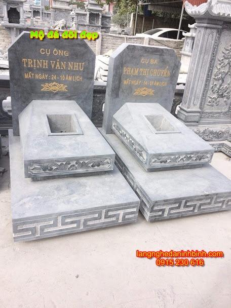 Mẫu mộ đôi bằng đá đẹp NB-18, mẫu mộ đôi đá khối giá rẻ; xây mộ đá đôi; Mộ đá đôi giá rẻ;  địa chỉ lắp đặt mộ đôi bằng đá;