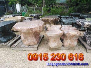 Bàn ghế đá tự nhiên – Mẫu bộ bàn ghế đá biệt thự sân vườn đẹp - 3