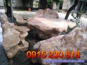 Bàn ghế đá tự nhiên – Mẫu bộ bàn ghế đá biệt thự sân vườn đẹp - 2